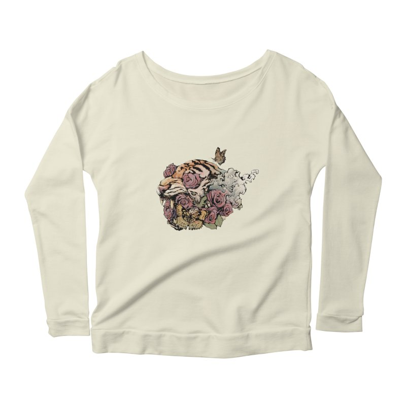 Tiger and Roses Women's Longsleeve Scoopneck  by ES427's Artist Shop