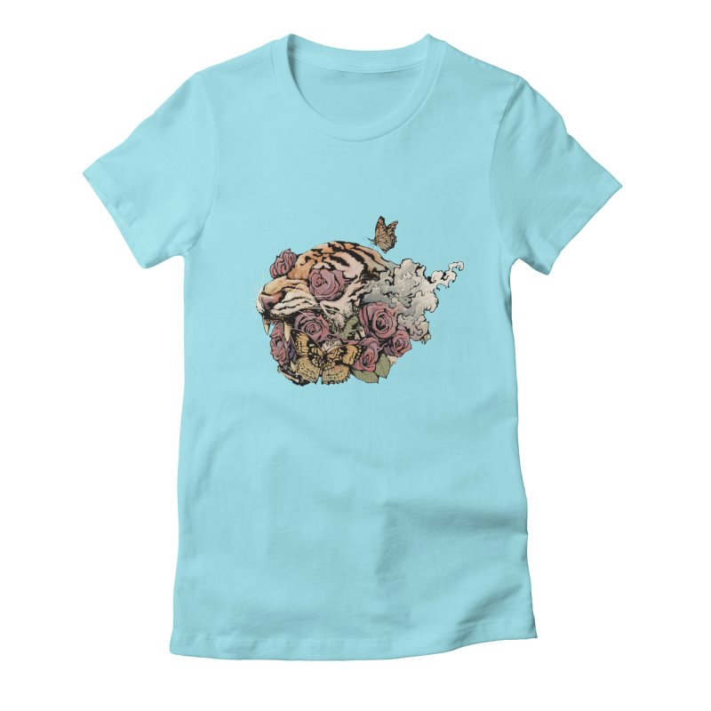 Tiger and Roses Women's Fitted T-Shirt by ES427's Artist Shop