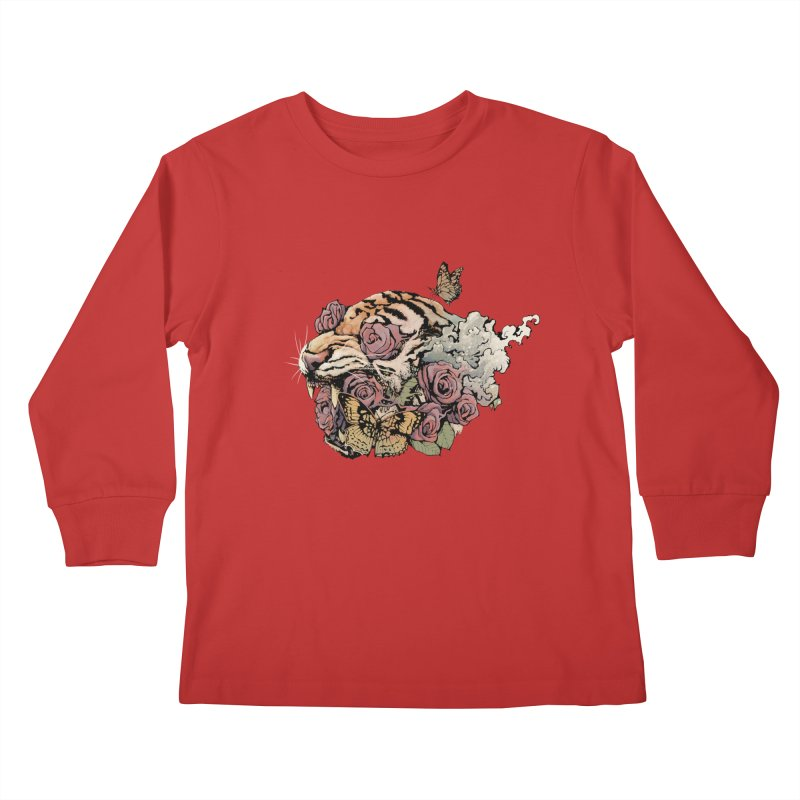 Tiger and Roses Kids Longsleeve T-Shirt by ES427's Artist Shop