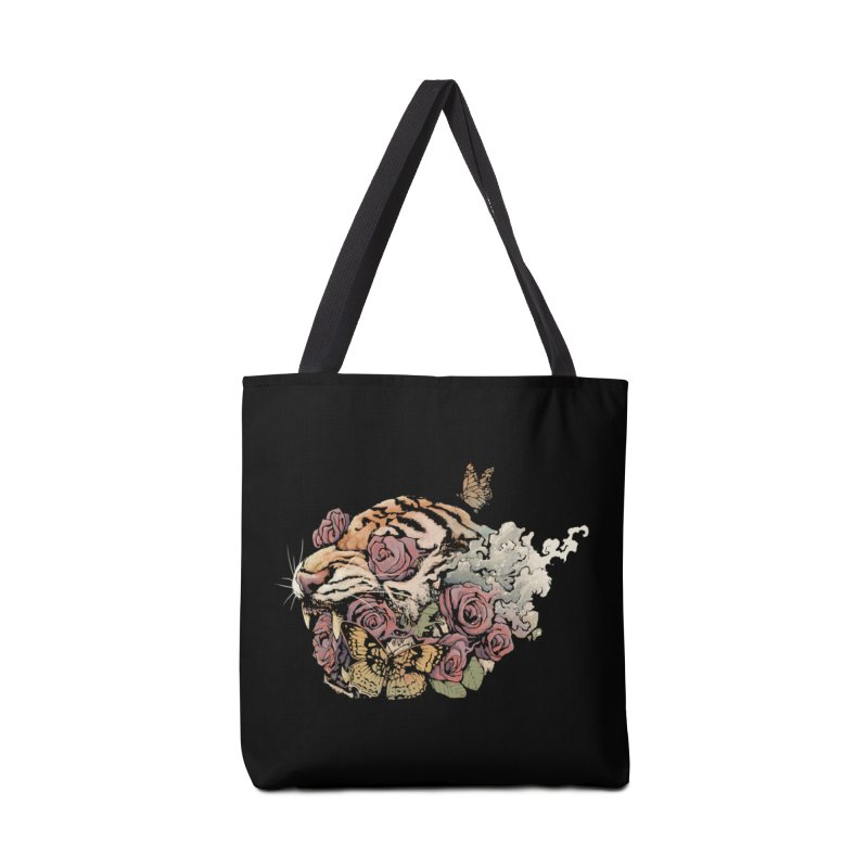 Tiger and Roses Accessories Bag by ES427's Artist Shop