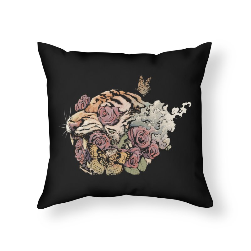 Tiger and Roses Home Throw Pillow by ES427's Artist Shop