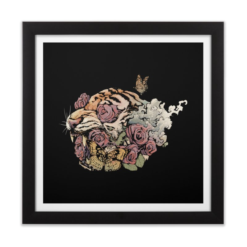 Tiger and Roses Home Framed Fine Art Print by ES427's Artist Shop