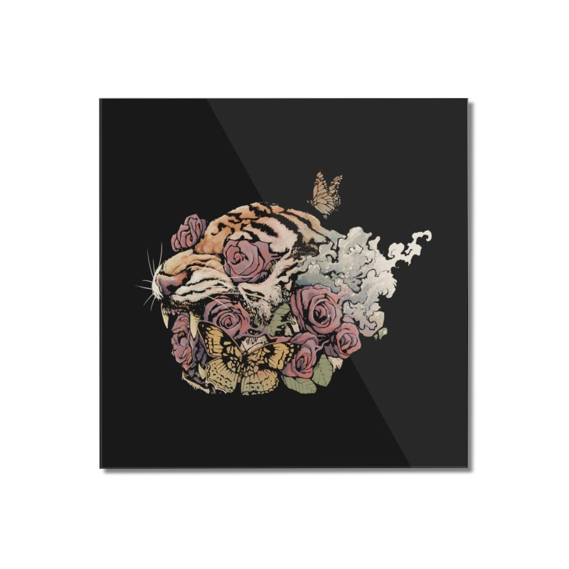 Tiger and Roses Home Mounted Acrylic Print by ES427's Artist Shop