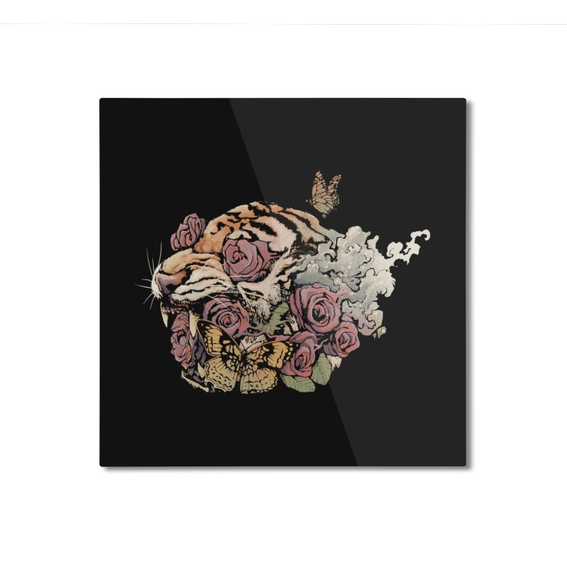 Tiger and Roses Home Mounted Aluminum Print by ES427's Artist Shop