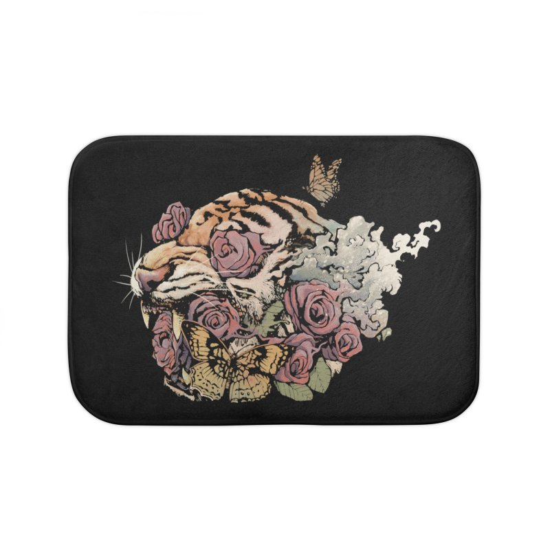Tiger and Roses Home Bath Mat by ES427's Artist Shop