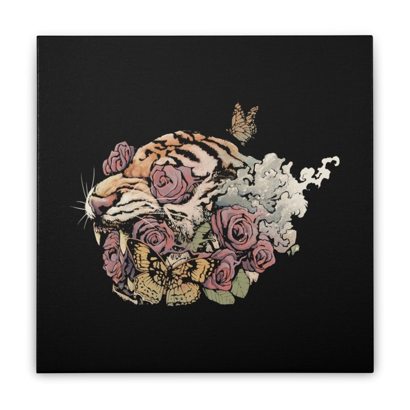 Tiger and Roses Home Stretched Canvas by ES427's Artist Shop