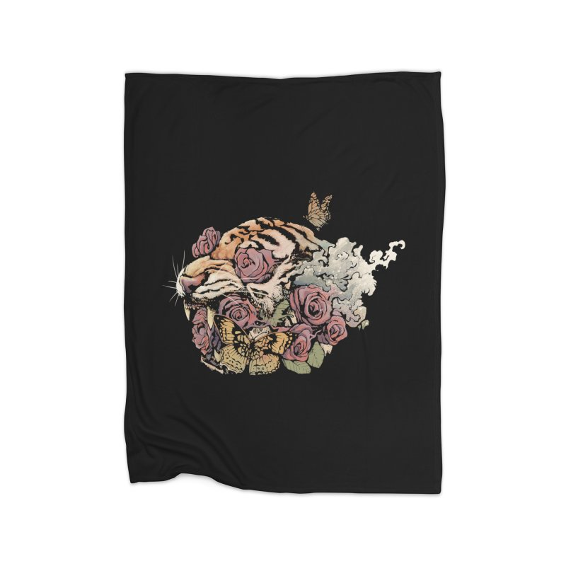 Tiger and Roses Home Blanket by ES427's Artist Shop