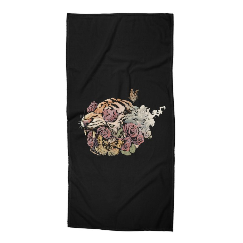 Tiger and Roses Accessories Beach Towel by ES427's Artist Shop