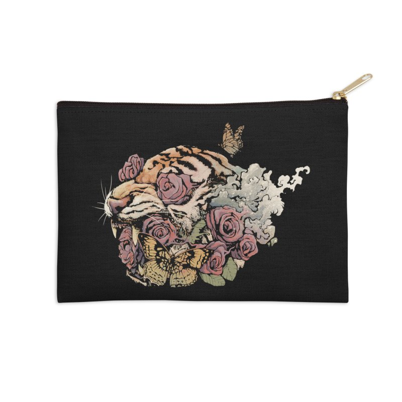 Tiger and Roses Accessories Zip Pouch by ES427's Artist Shop