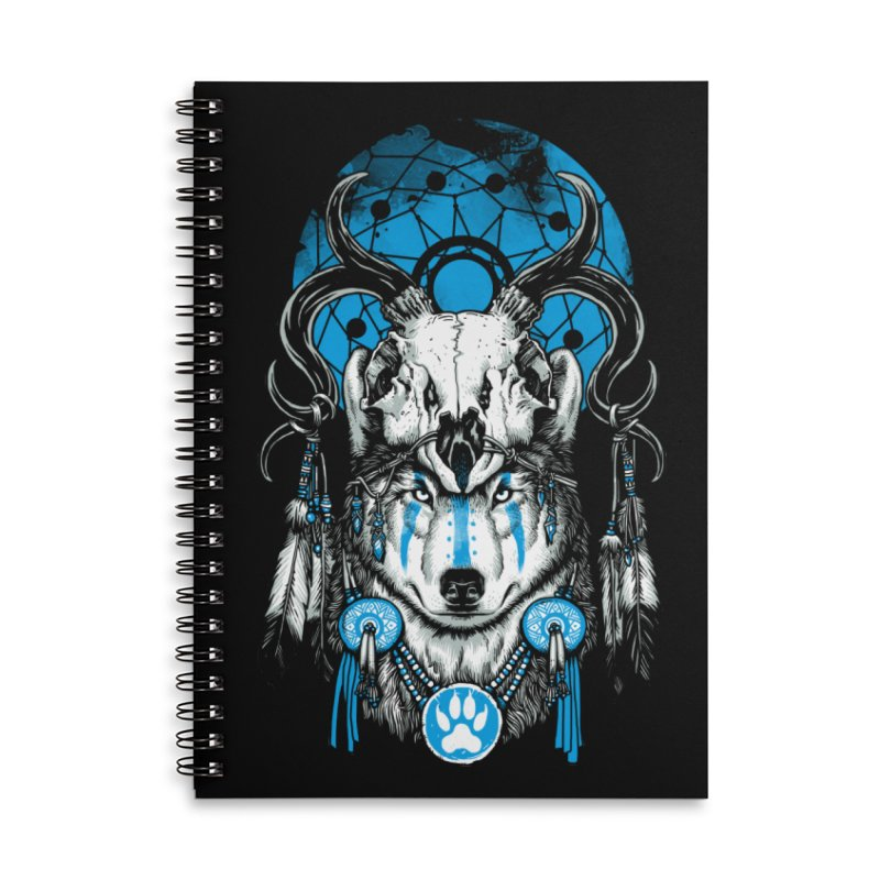 Wolf Spirit Accessories Lined Spiral Notebook by ES427's Artist Shop