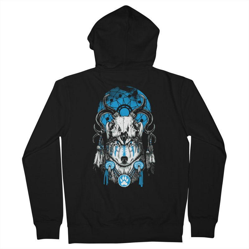 Wolf Spirit Men's French Terry Zip-Up Hoody by ES427's Artist Shop