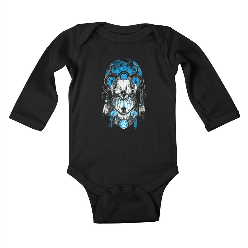 Wolf Spirit Kids Baby Longsleeve Bodysuit by ES427's Artist Shop