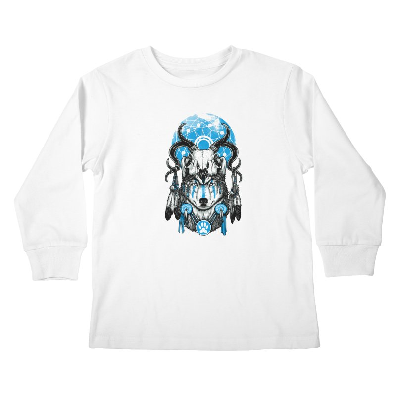 Wolf Spirit Kids Longsleeve T-Shirt by ES427's Artist Shop