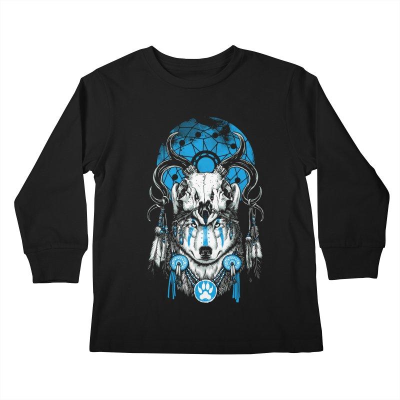 Wolf Spirit Kids Longsleeve T-Shirt by ES427's Artist Shop