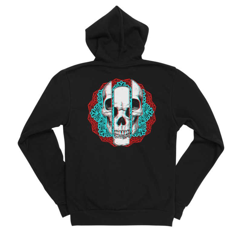 Mandala Skull Men's Sponge Fleece Zip-Up Hoody by ES427's Artist Shop