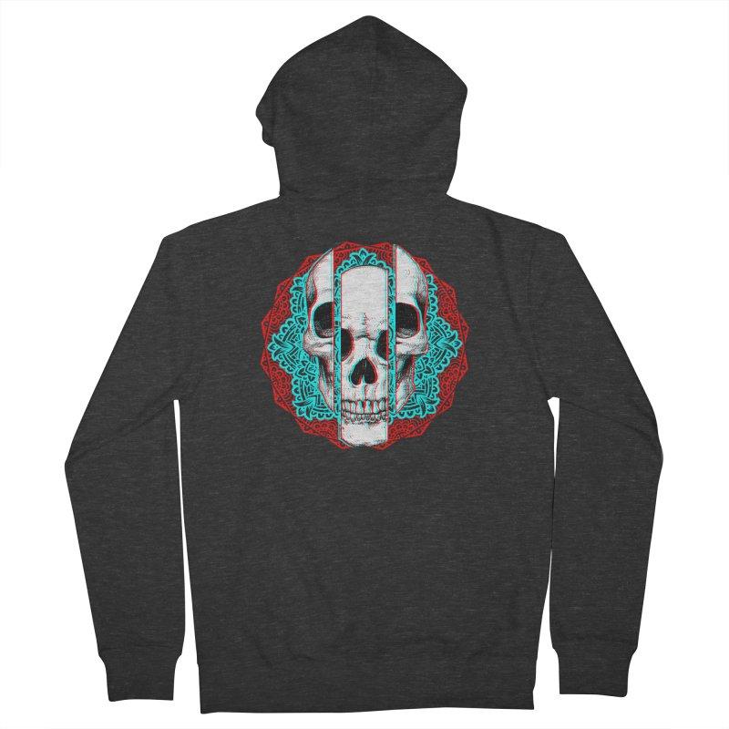 Mandala Skull Men's French Terry Zip-Up Hoody by ES427's Artist Shop