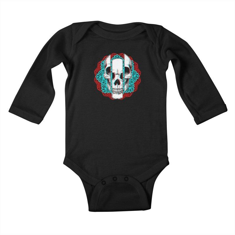 Mandala Skull Kids Baby Longsleeve Bodysuit by ES427's Artist Shop
