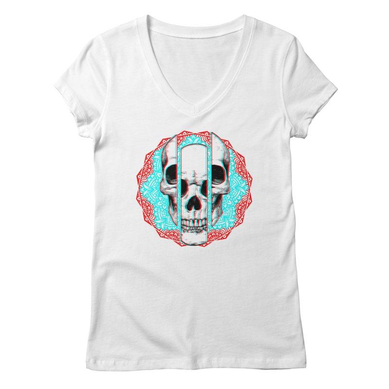 Mandala Skull Women's Regular V-Neck by ES427's Artist Shop