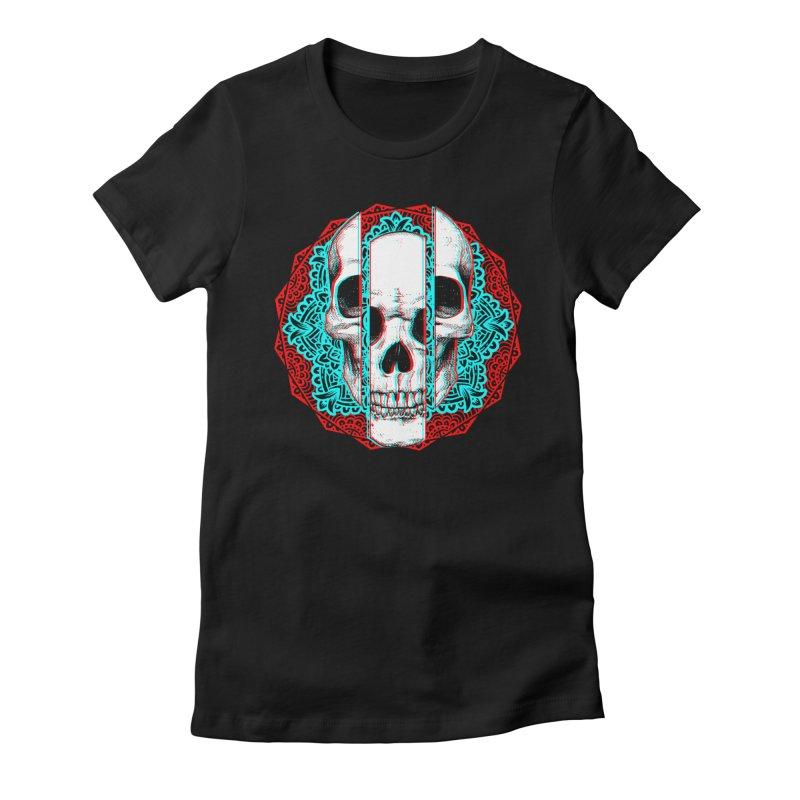 Mandala Skull Women's Fitted T-Shirt by ES427's Artist Shop