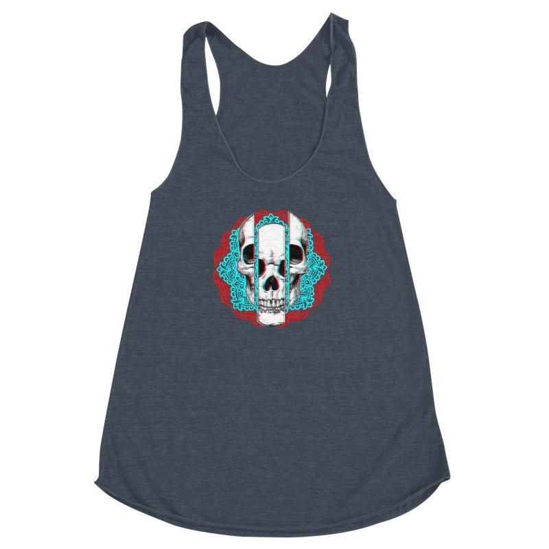 Mandala Skull Women's Racerback Triblend Tank by ES427's Artist Shop