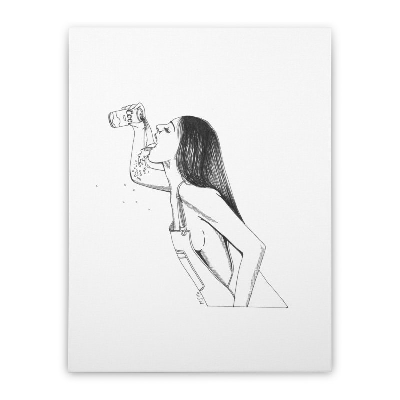 beer babe Home Stretched Canvas by Earthtomonica's Artist Shop