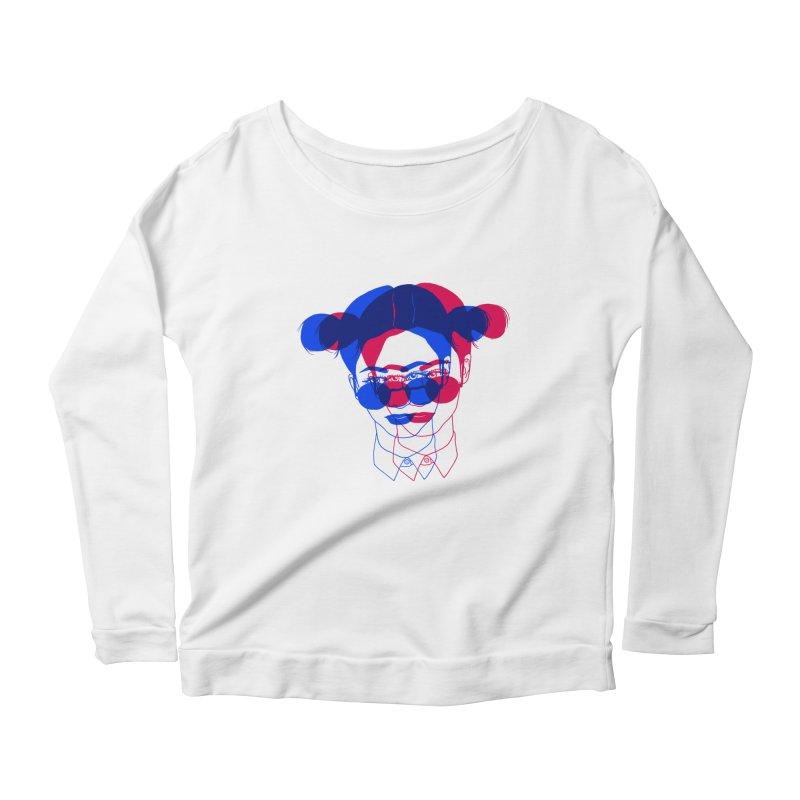 space bun girl Women's Scoop Neck Longsleeve T-Shirt by EarthtoMonica