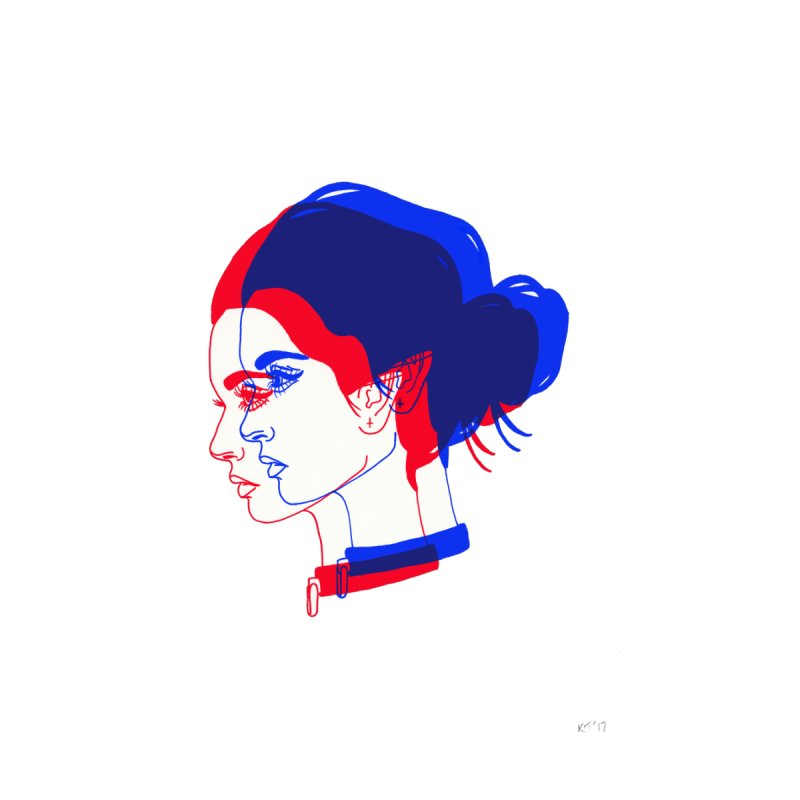red and blue bun babe by Earthtomonica's Artist Shop