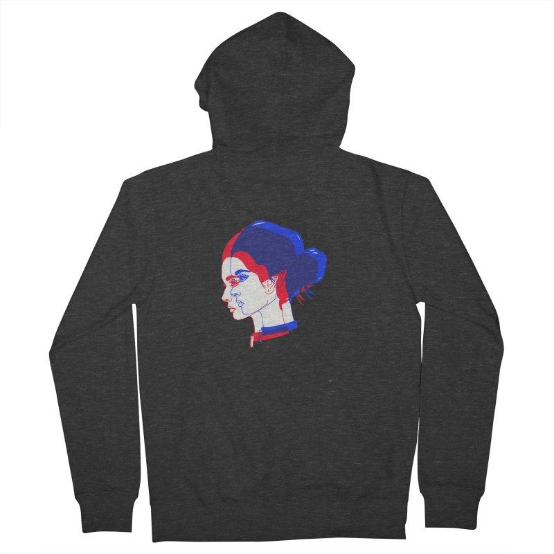 red and blue bun babe Women's Zip-Up Hoody by Earthtomonica's Artist Shop