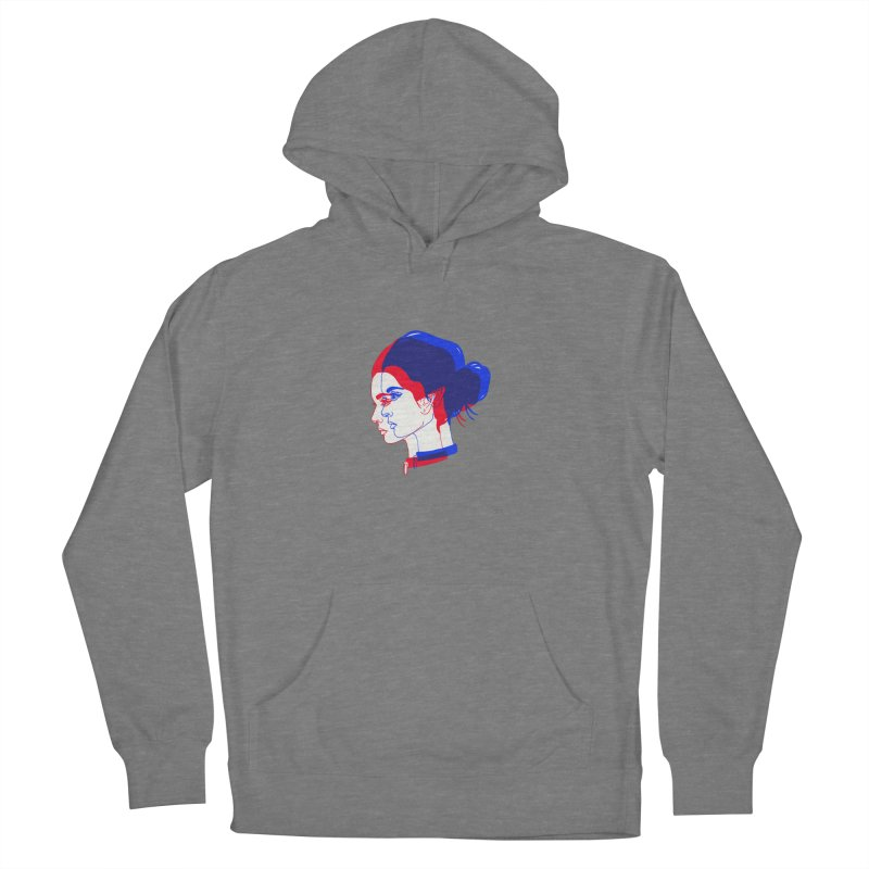 red and blue bun babe Women's Pullover Hoody by EarthtoMonica