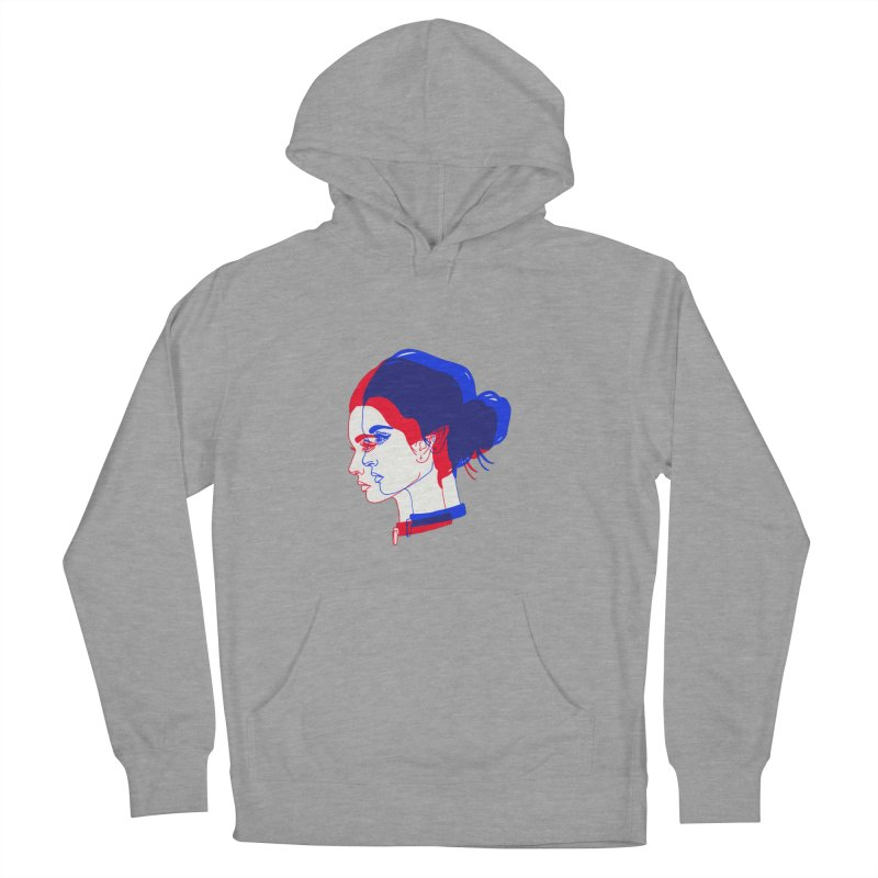 red and blue bun babe Men's Pullover Hoody by Earthtomonica's Artist Shop