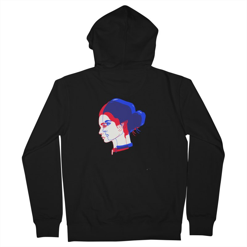 red and blue bun babe Women's French Terry Zip-Up Hoody by EarthtoMonica