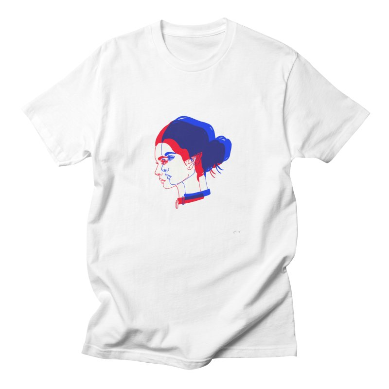 red and blue bun babe Men's T-shirt by Earthtomonica's Artist Shop