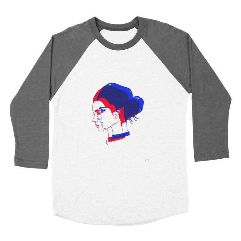 red and blue bun babe Women's Baseball Triblend Longsleeve T-Shirt by EarthtoMonica