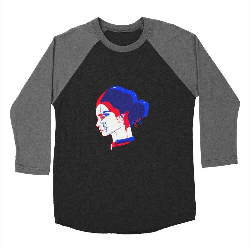 red and blue bun babe Men's Baseball Triblend T-Shirt by Earthtomonica's Artist Shop