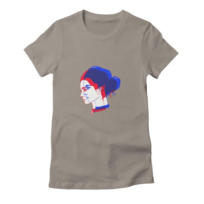 red and blue bun babe Women's T-Shirt by EarthtoMonica