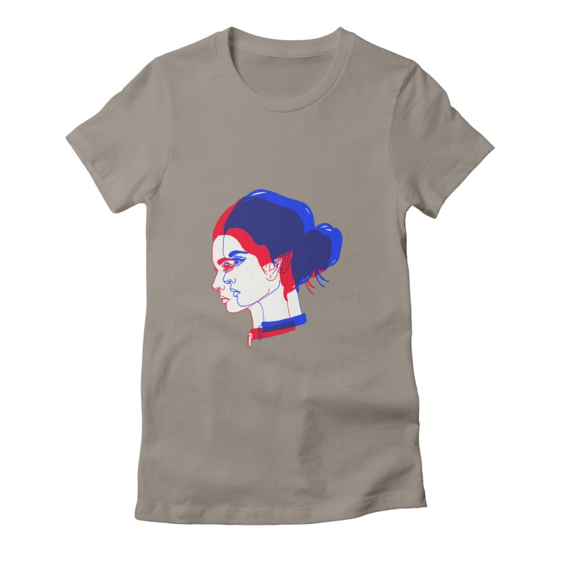 red and blue bun babe Women's T-Shirt by EarthtoMonica