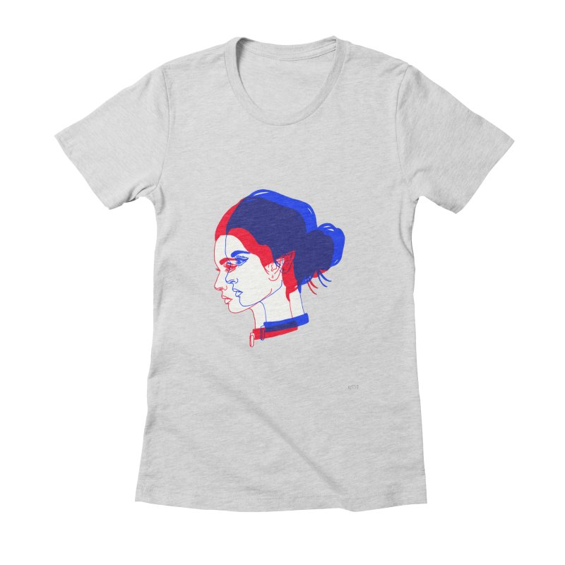 red and blue bun babe Women's Fitted T-Shirt by Earthtomonica's Artist Shop