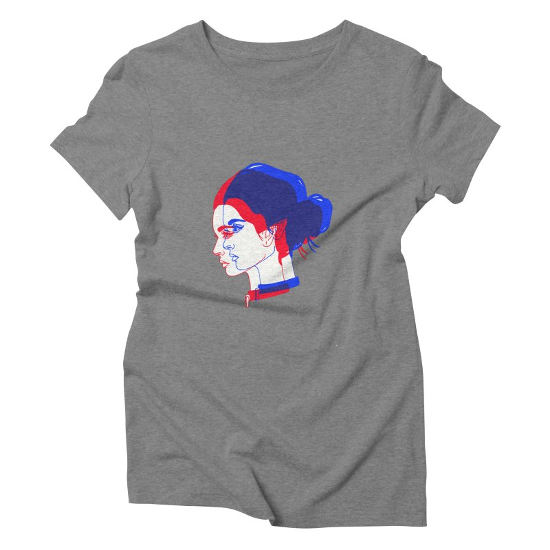 red and blue bun babe Women's Triblend T-shirt by Earthtomonica's Artist Shop
