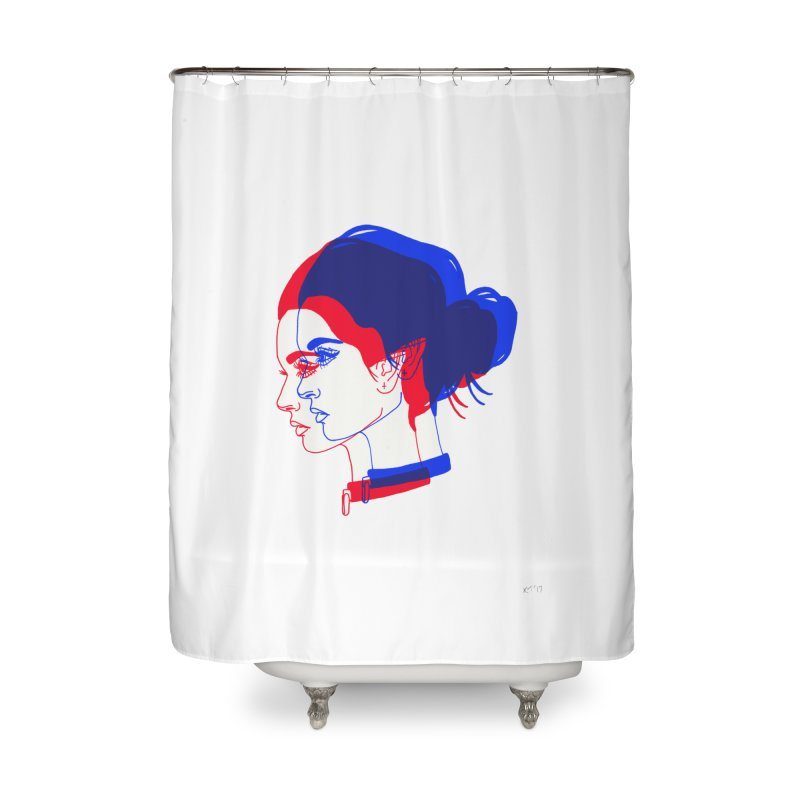 red and blue bun babe Home Shower Curtain by Earthtomonica's Artist Shop