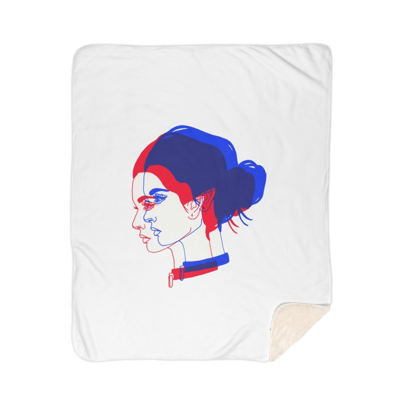 red and blue bun babe Home Sherpa Blanket Blanket by EarthtoMonica