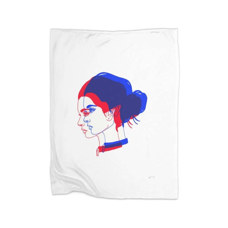 red and blue bun babe Home Blanket by Earthtomonica's Artist Shop