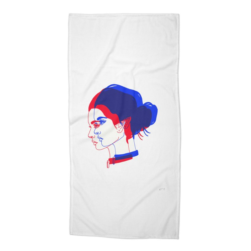 red and blue bun babe Accessories Beach Towel by Earthtomonica's Artist Shop