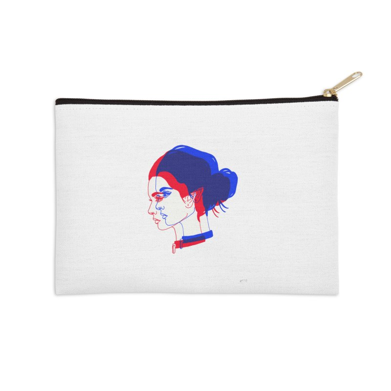 red and blue bun babe Accessories Zip Pouch by Earthtomonica's Artist Shop