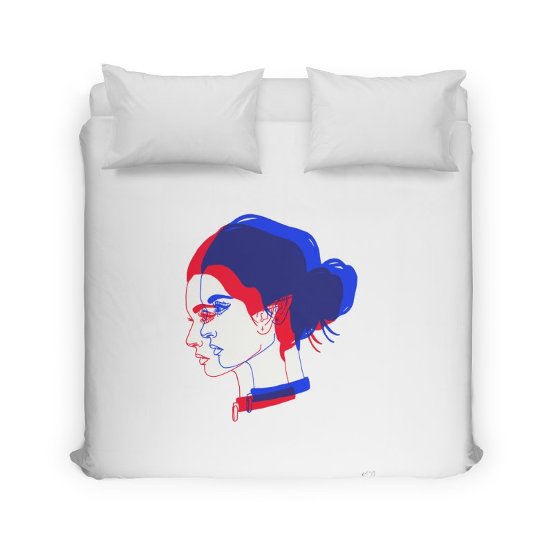 red and blue bun babe Home Duvet by EarthtoMonica