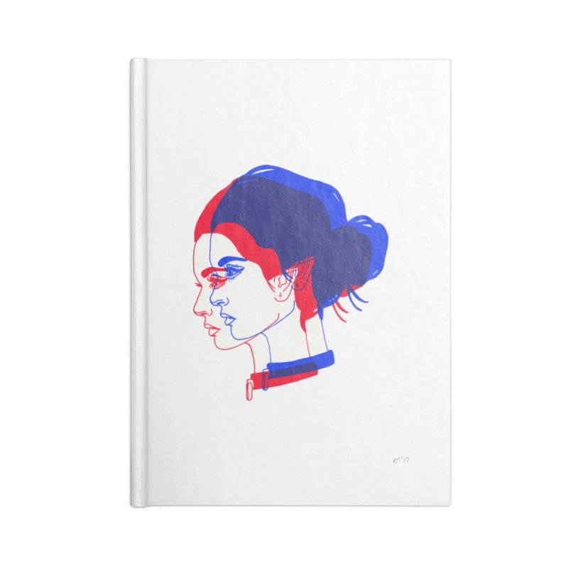 red and blue bun babe Accessories Blank Journal Notebook by EarthtoMonica