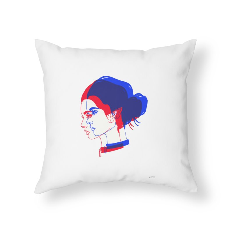 red and blue bun babe Home Throw Pillow by EarthtoMonica