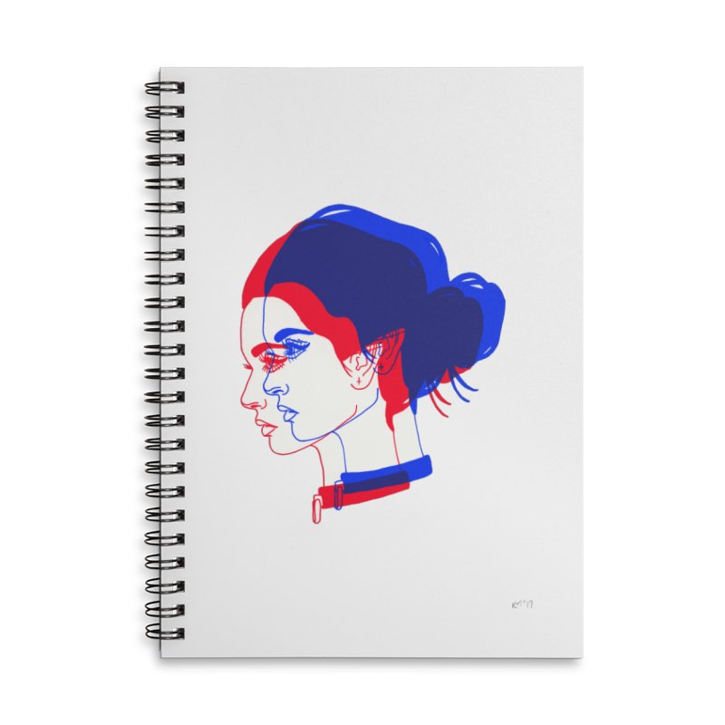 red and blue bun babe Accessories Lined Spiral Notebook by EarthtoMonica