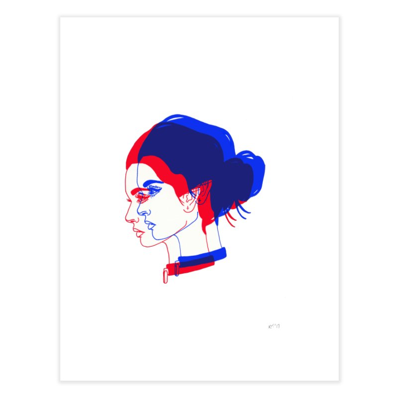 red and blue bun babe Home Fine Art Print by Earthtomonica's Artist Shop