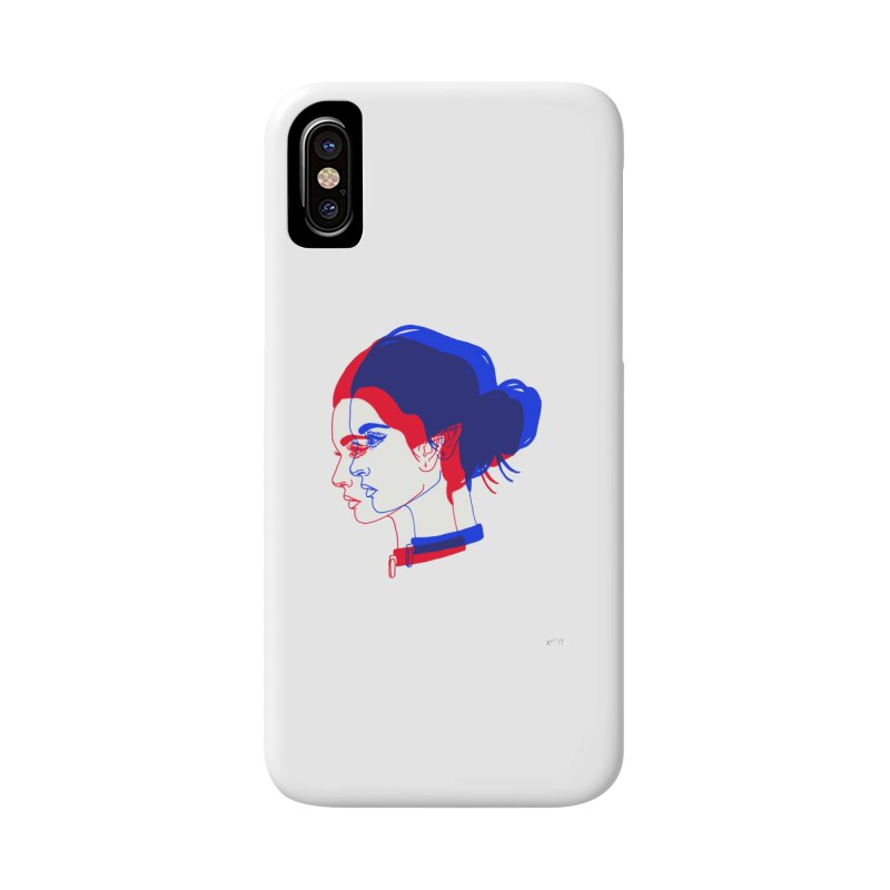 red and blue bun babe Accessories Phone Case by Earthtomonica's Artist Shop