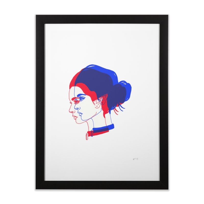 red and blue bun babe Home Framed Fine Art Print by Earthtomonica's Artist Shop